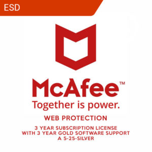 McAfee Web Protection 3yr Subscription License with 3yr Gold Software Support A 5-25-Silver